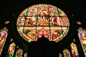 Stained glass window at St James Church